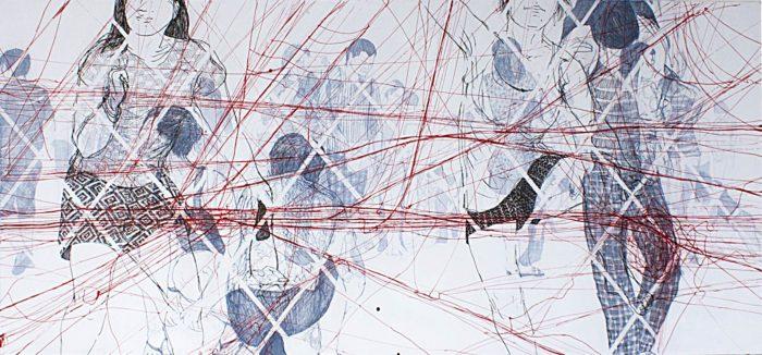 hot to the touch ink and acrylic oncanvas 90 x 200 cm 2014 (c) Olga Georgieva